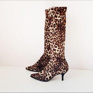 "donald j pilner ""luna"" leopard knee high sock boot"